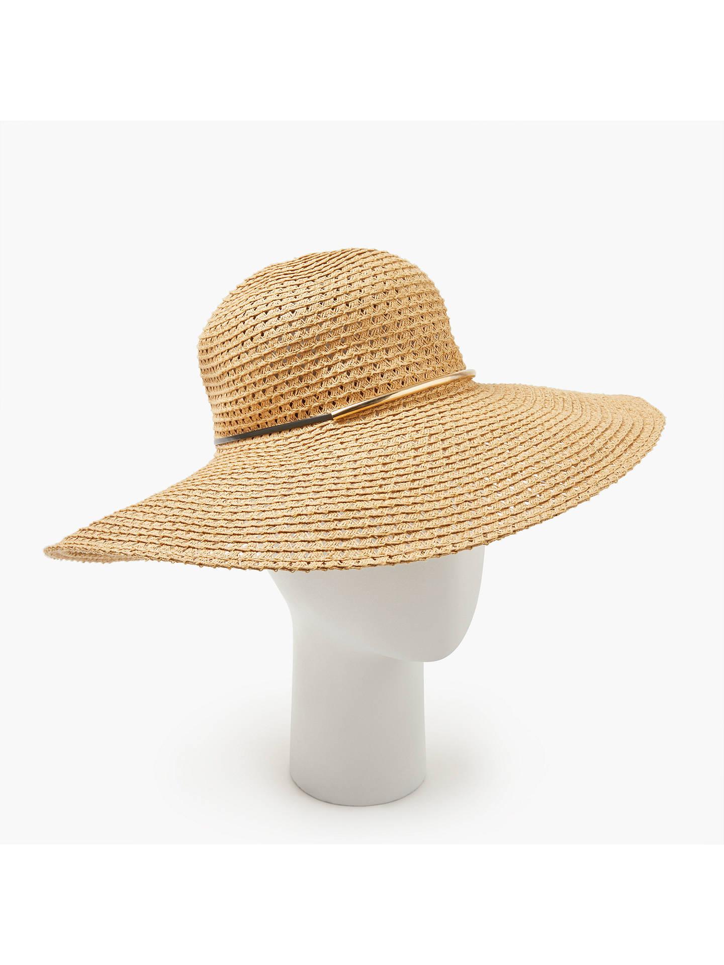 43f1d452 Buy John Lewis & Partners Packable Metal Trim Braided Floppy Hat, Natural  Online at johnlewis ...