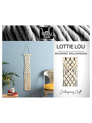 Wool Couture Lottie Lou Macrame Wall Hanging Kit, Cream