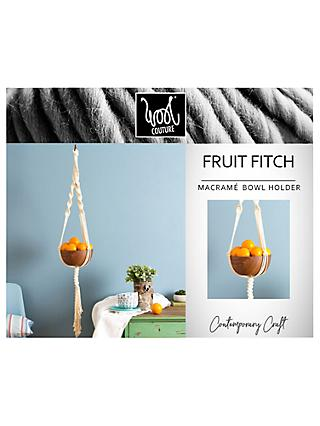 Wool Couture Fruit Fitch Macrame Bowl Holder Craft Kit, Cream