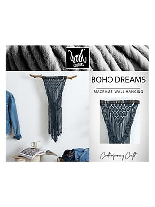 Wool Couture Boho Dreams Macrame Wall Hanging Craft Kit, Denim