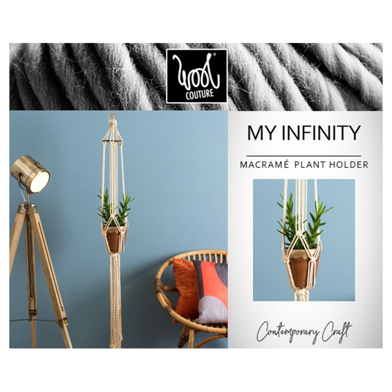 Wool Couture My Infinity Macrame Plant Hanger Kit, Cream