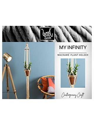 Wool Couture My Infinity Macrame Plant Hanger Kit, Cream