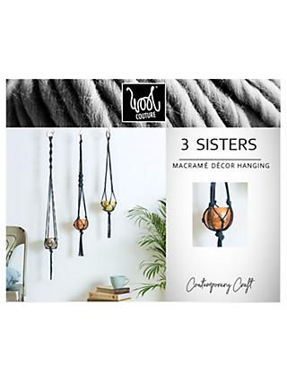 Wool Couture 3 Sisters Macrame Plant Hanger Kit, Denim