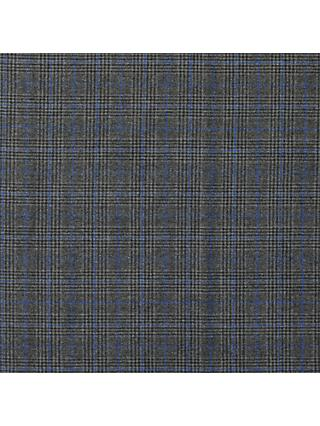 Viscount Textiles Check Weave Fabric, Grey/Blue