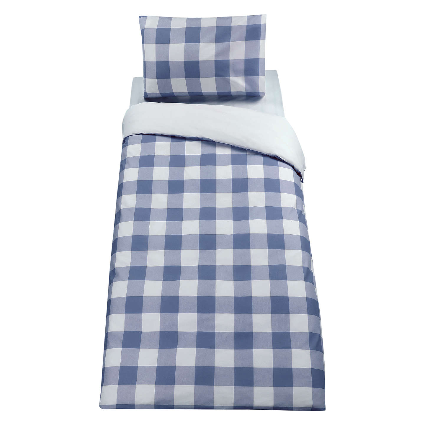 Buylittle home at John Lewis Gingham Check Duvet Cover and Pillowcase Set, Single, Blue Online at johnlewis.com