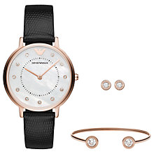 Buy Emporio Armani AR80011 Women's Crystal Leather Strap Watch Stud Earrings and Bangle Gift Set, Black/White Online at johnlewis.com