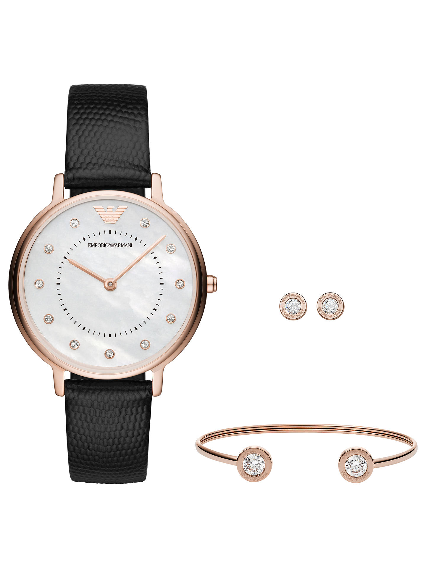 d1bab4e964 Emporio Armani AR80011 Women's Crystal Leather Strap Watch Stud Earrings  and Bangle Gift Set, Black/White