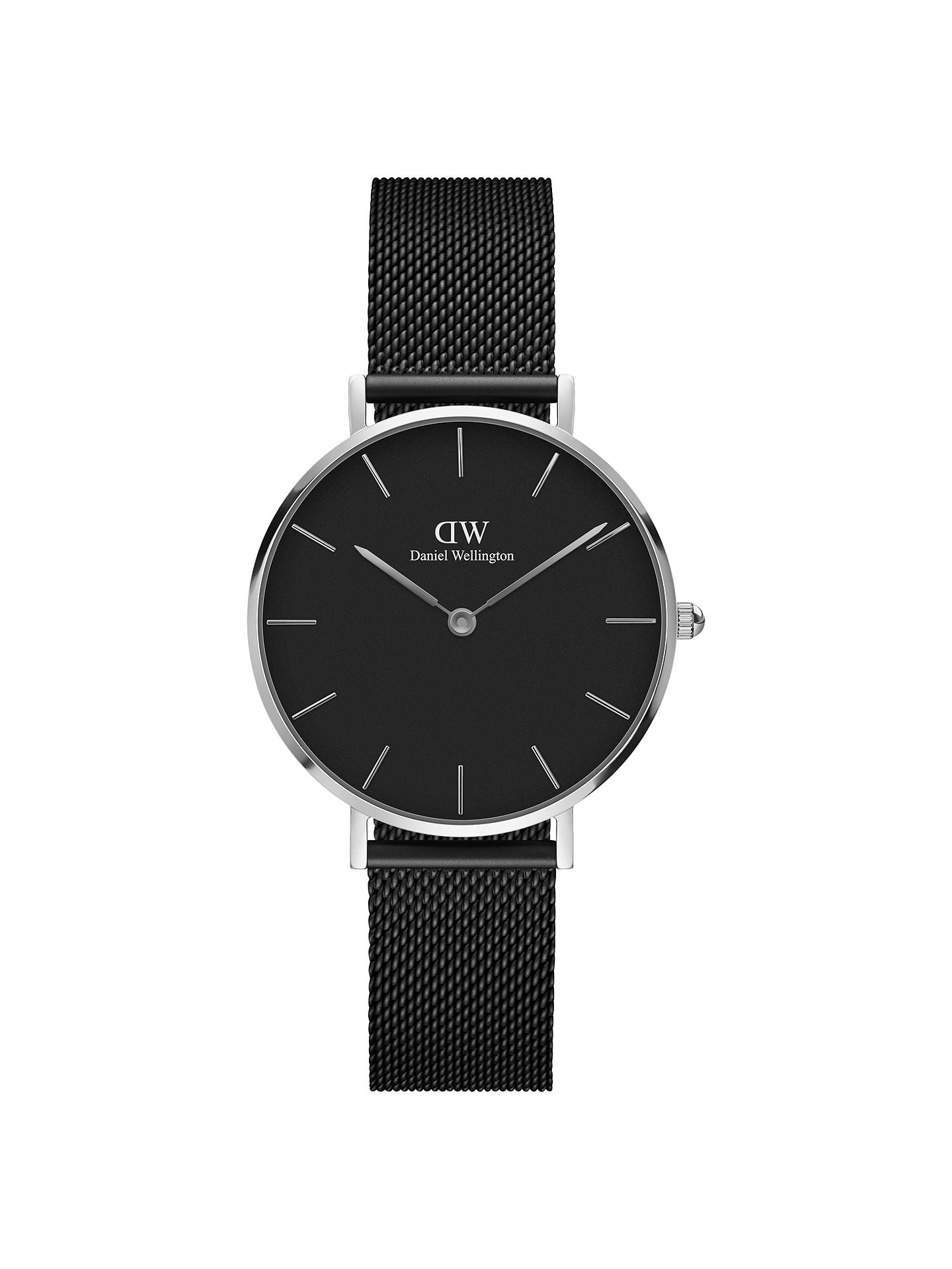 BuyDaniel Wellington DW00100202 Women's Classic Petite Ashfield Mesh Bracelet Strap Watch, Black/Silver Online at johnlewis.com