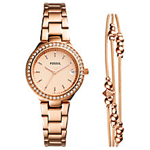 Buy Fossil ES4337SET Women's Crystal Date Bracelet Strap Watch and Bangle Set, Rose Gold Online at johnlewis.com