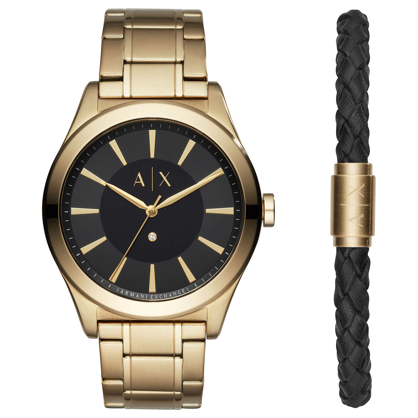 Armani Exchange Ax7104 Men's Dress Bracelet Strap Watch And Leather Bracelet Set, Gold/Black by Armani Exchange
