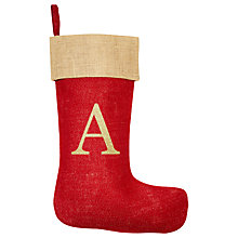 Buy The Handmade Christmas Co. Personalised Christmas Stocking, Glitter Red Online at johnlewis.com