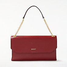 Buy DKNY Sutton Leather Envelope Clutch Bag, Scarlet Online at johnlewis.com