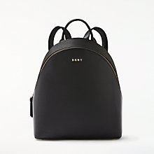 Buy DKNY Sutton Textured Leather Medium Backpack, Black Online at johnlewis.com