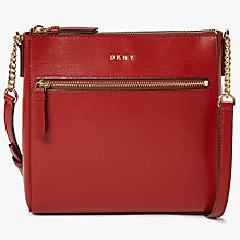 Buy DKNY Chain Item Leather Top Zip Cross Body, Scarlet Online at johnlewis.com