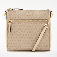 Buy DKNY Chain Item Leather Top Zip Cross Body, Chino Logo Online at johnlewis.com