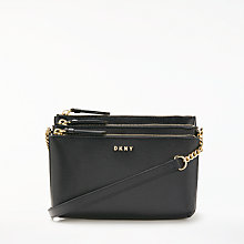 Buy DKNY Chain Item Sutton Textured Leather Cross Body Bag, Black Online at johnlewis.com