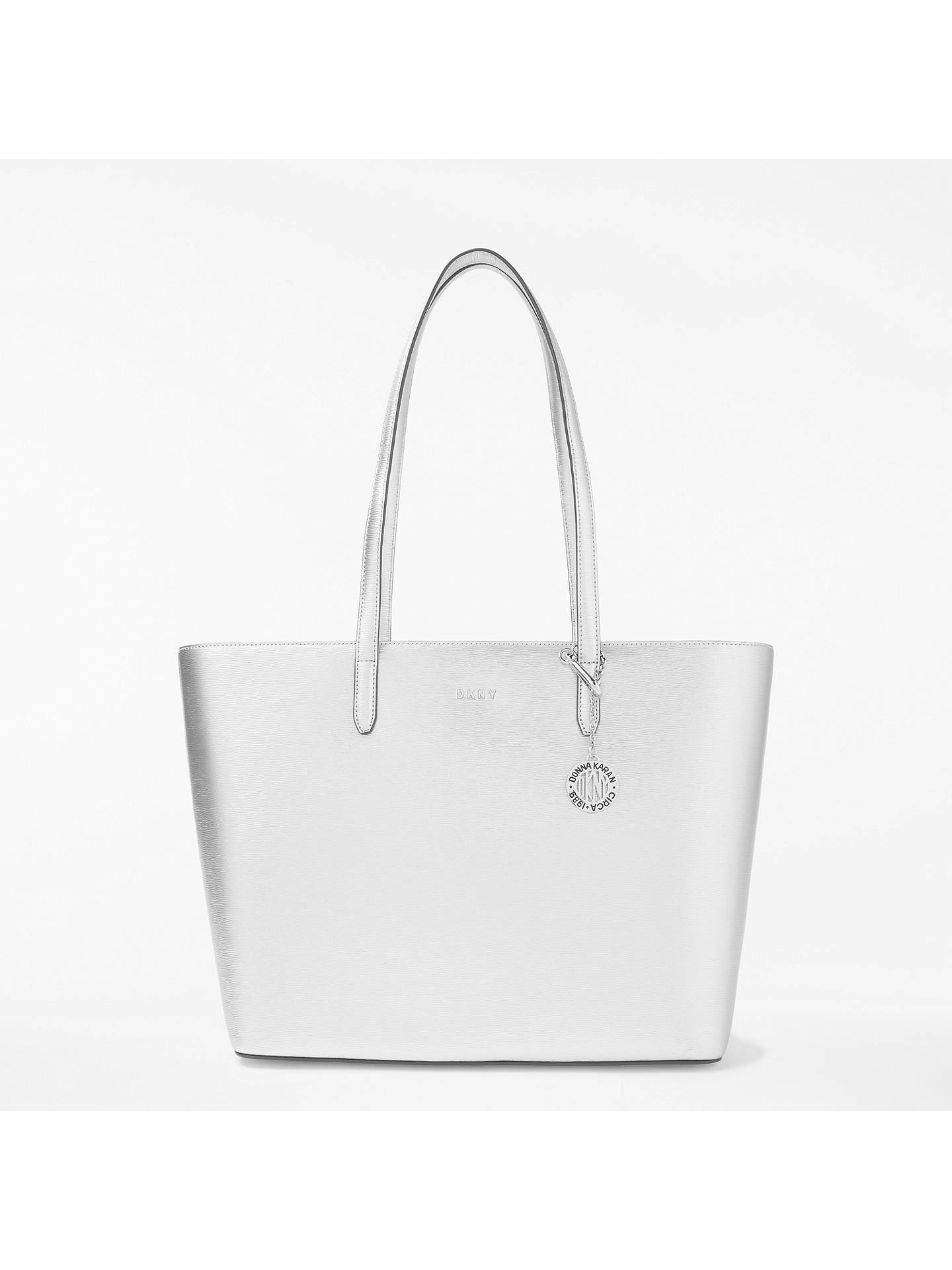 a404029ae Buy DKNY Sutton Leather Large Tote Bag, Silver Online at johnlewis.com ...