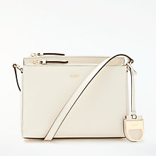 Buy DKNY Leather Double Zip Cross Body, Ivory Online at johnlewis.com