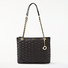Buy DKNY Nappa Leather Quilted Medium Tote Bag, Black Online at johnlewis.com