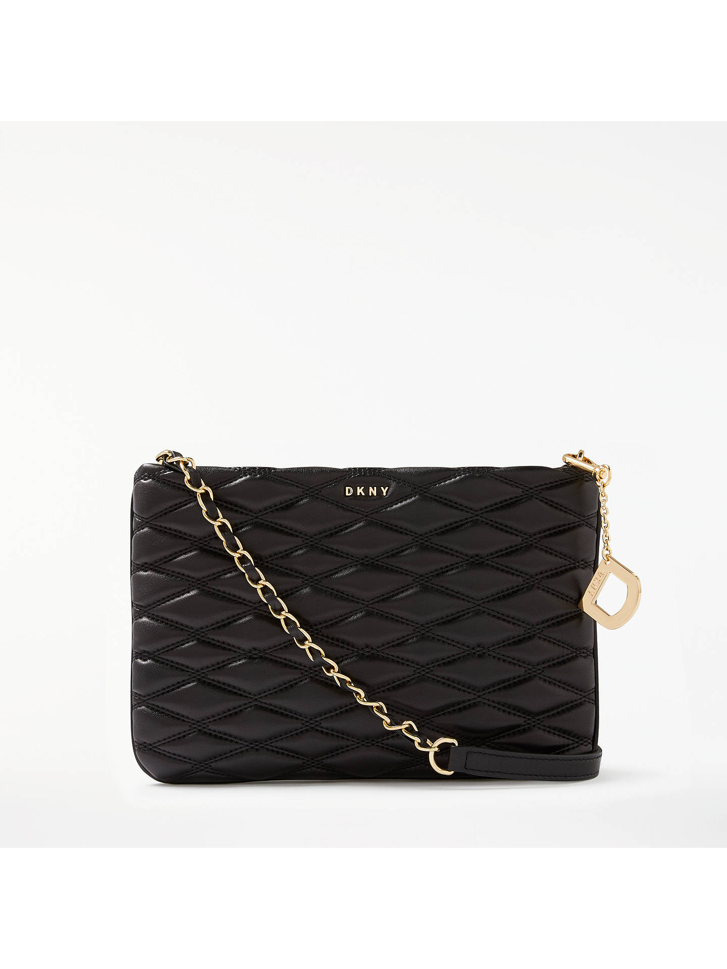 Dkny Na Leather Quilted Cross Body Bag Black Online At Johnlewis