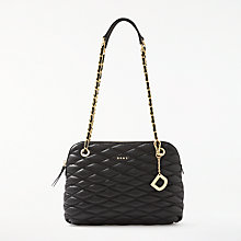 Buy DKNY Nappa Leather Quilted Medium Flapover Cross Body, Black Online at johnlewis.com