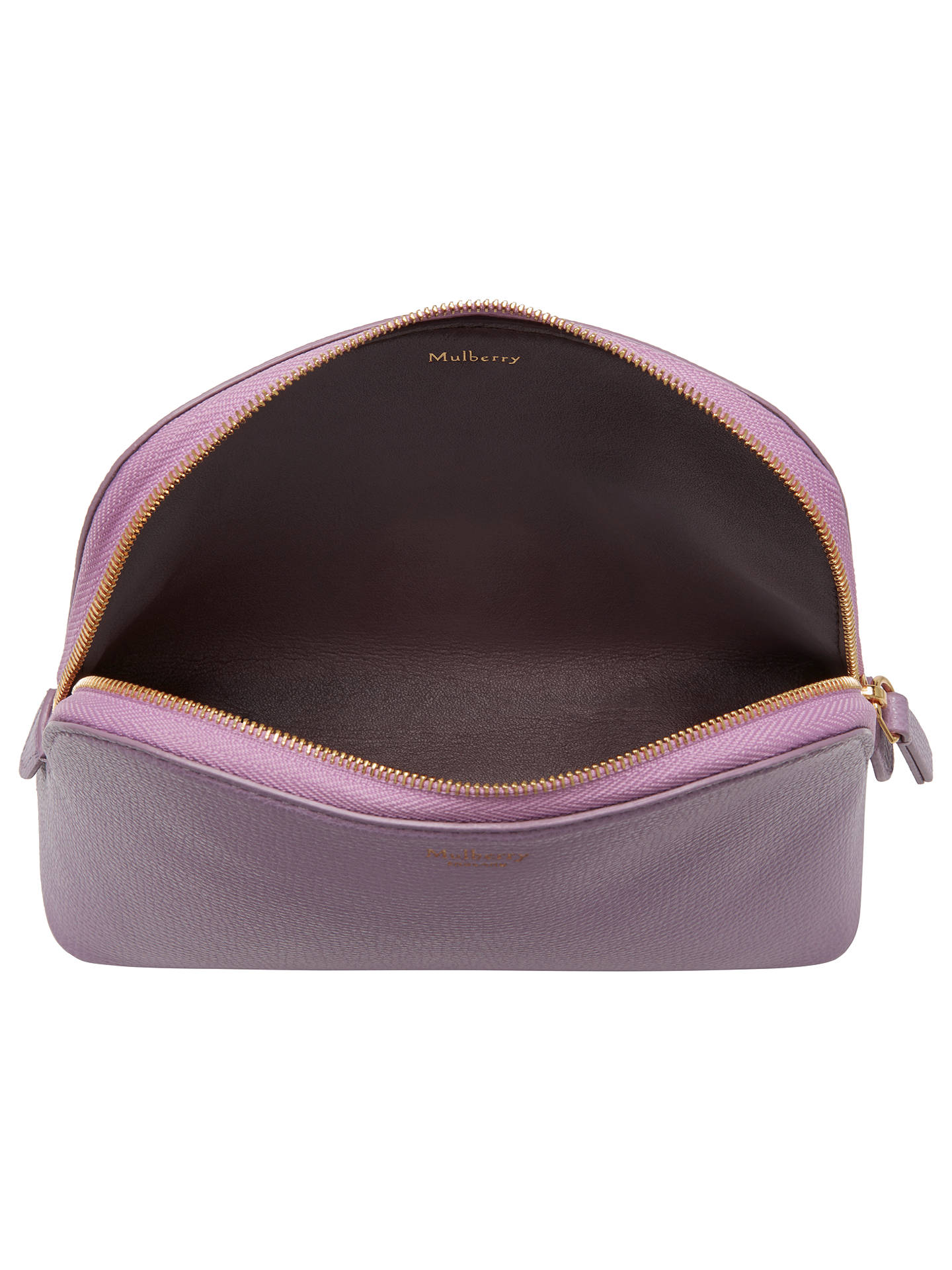 BuyMulberry Cross Grain Leather Cosmetic Pouch, Lilac Online at johnlewis.com
