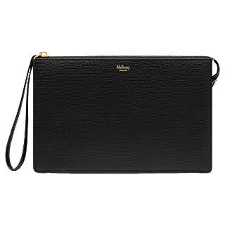 Mulberry Small Classic Grain Leather Pouch Purse, Black