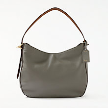 Buy DKNY Pebbled Leather Medium Hobo Bag, Grey/Brown Online at johnlewis.com