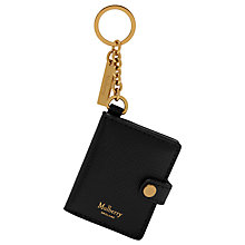Buy Mulberry Portrait Leather Keyring, Black Online at johnlewis.com