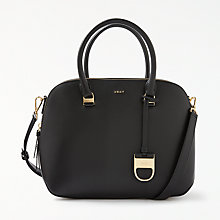 Buy DKNY Leather Medium Satchel Bag, Black Online at johnlewis.com