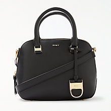 Buy DKNY Leather Small Satchel Bag, Black Online at johnlewis.com