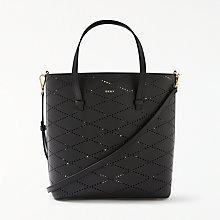 Buy DKNY Leather Perforated Small Tote Bag, Black Online at johnlewis.com
