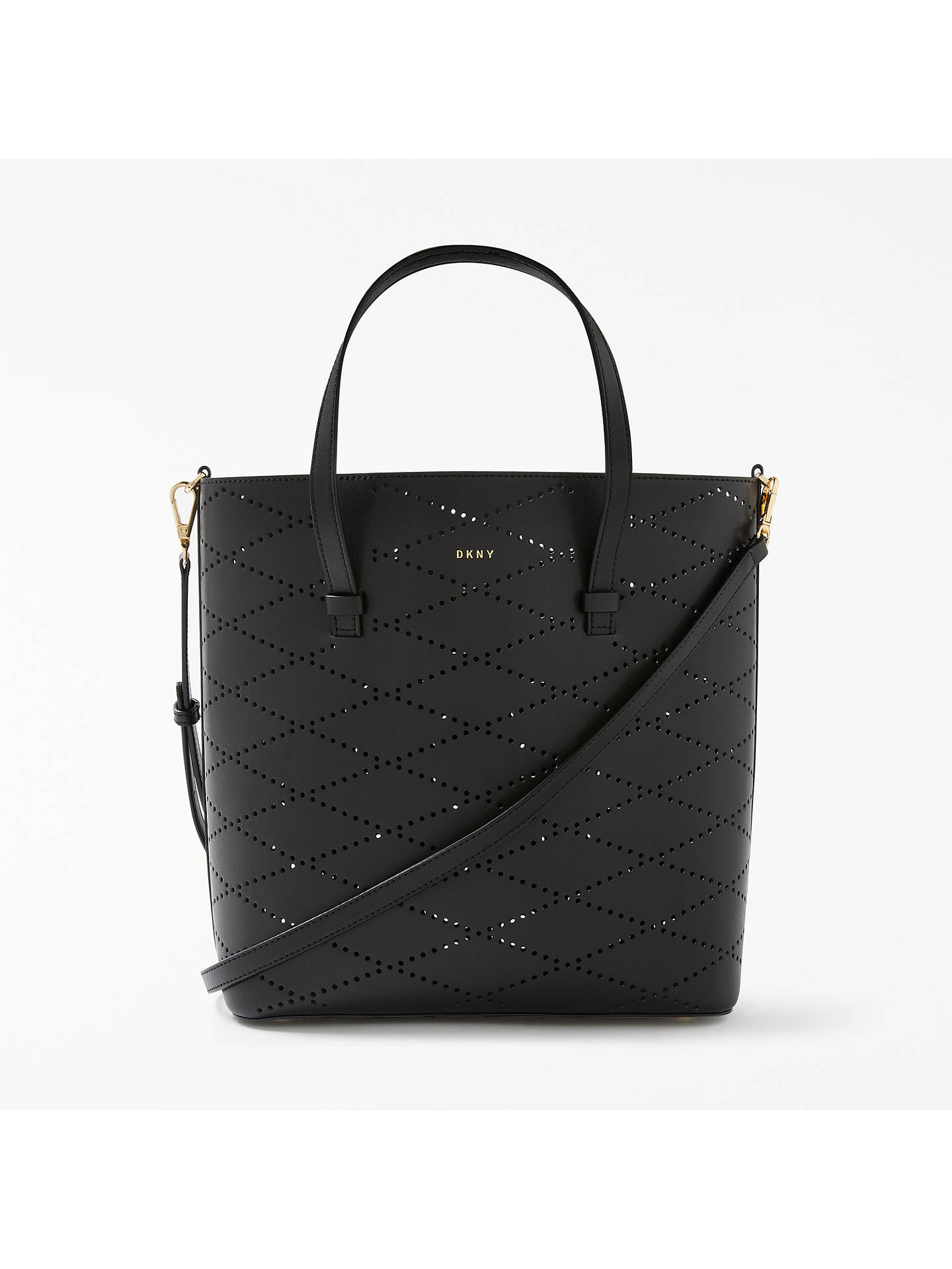 Dkny Leather Perforated Small Tote Bag Black Online At Johnlewis