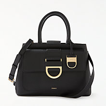 Buy DKNY Leather Flap Satchel Bag, Black Online at johnlewis.com