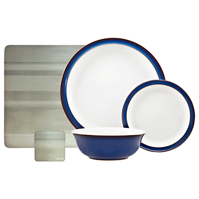 Denby Imperial Blue 12-Piece Dinnerware Set and Placemats and Coasters