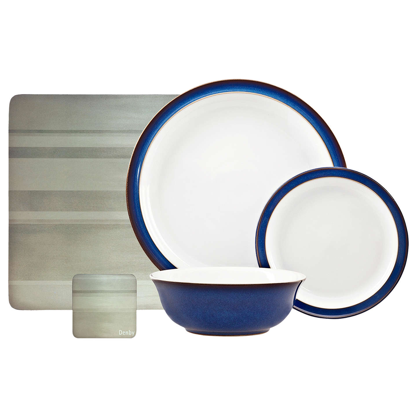 BuyDenby Imperial Blue 12-Piece Dinnerware Set and Placemats and Coasters Online at johnlewis.  sc 1 st  John Lewis & Denby Imperial Blue 12-Piece Dinnerware Set and Placemats and ...