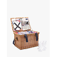 Buy Joules Whitstable Floral Print Lining Filled Wicker Picnic Hamper, 4 Person Online at johnlewis.com