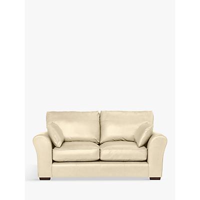 John Lewis Leon Leather Medium 2 Seater Sofa, Dark Leg, Contempo Ivory