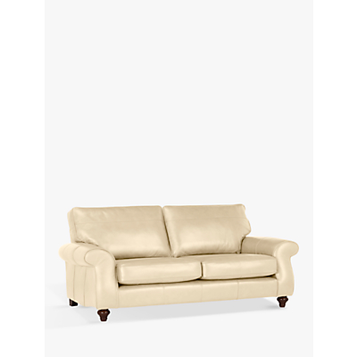 John Lewis Hannah Grand 4 Seater Leather Sofa, Dark Leg, Contempo Ivory