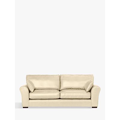 John Lewis Leon Leather Grand 4 Seater Sofa, Dark Leg, Contempo Ivory