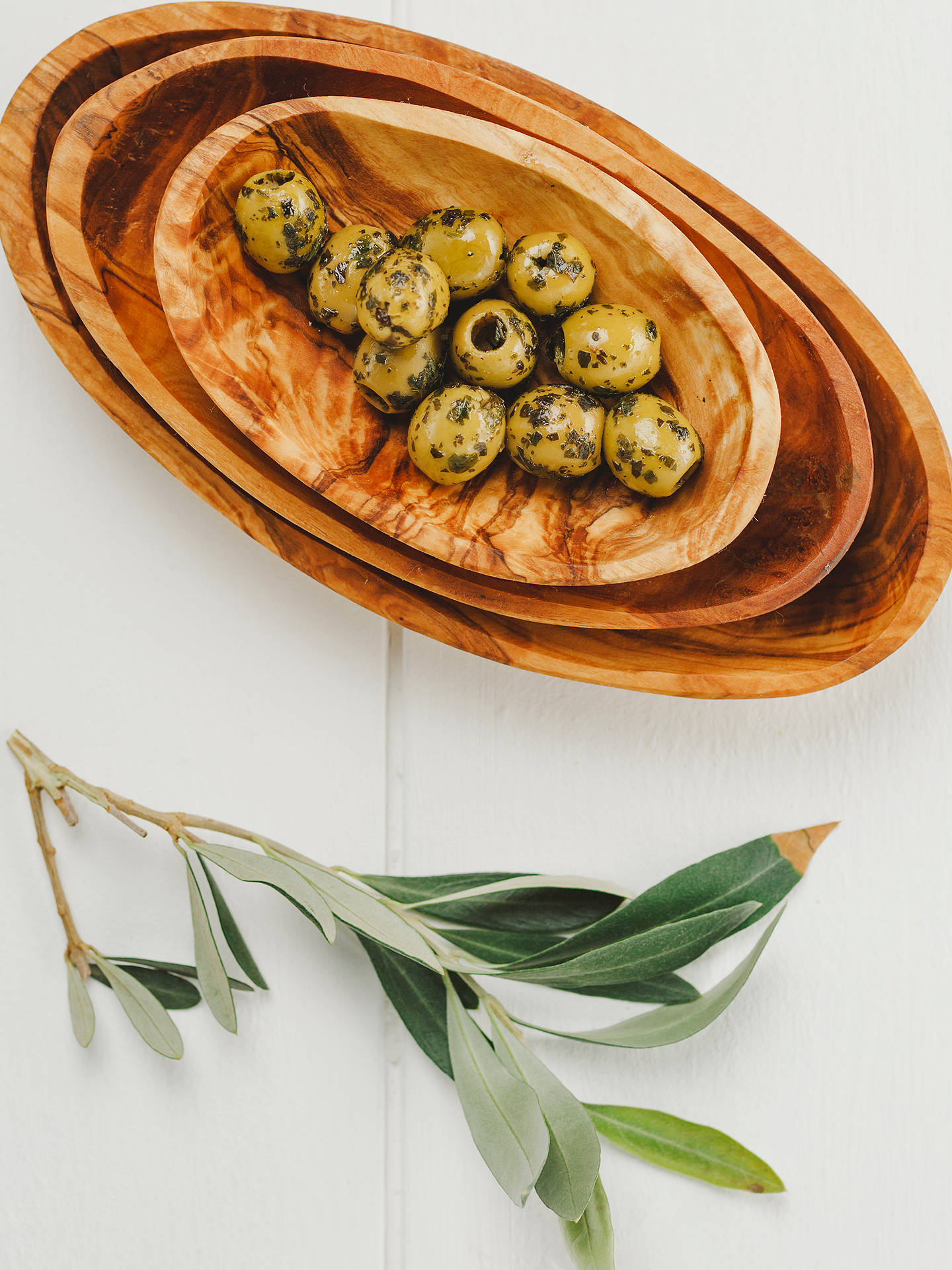 BuyNaturally Med Olive Wood Stacking Bowl Set, Set of 3 Online at johnlewis.com