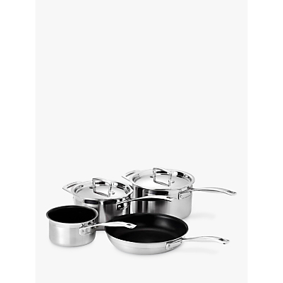 le creuset 3 ply stainless steel saucepans and frying pan. Black Bedroom Furniture Sets. Home Design Ideas