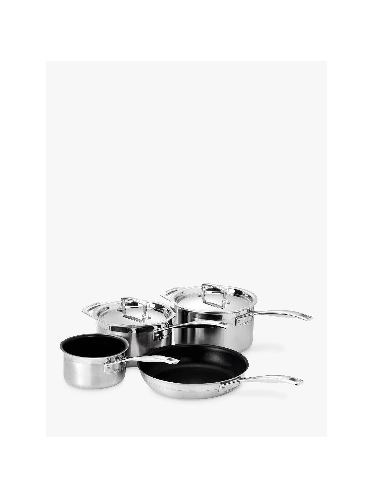 Buy Le Creuset 3-Ply Stainless Steel Saucepans and Frying Pan Set, 4 Pieces Online at johnlewis.com