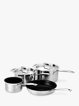 Le Creuset 3-Ply Stainless Steel Saucepans and Frying Pan Set, 4 Pieces