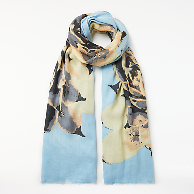 Unmade Aus Blooming Flower Wool Mix Scarf, Sky Blue/Multi