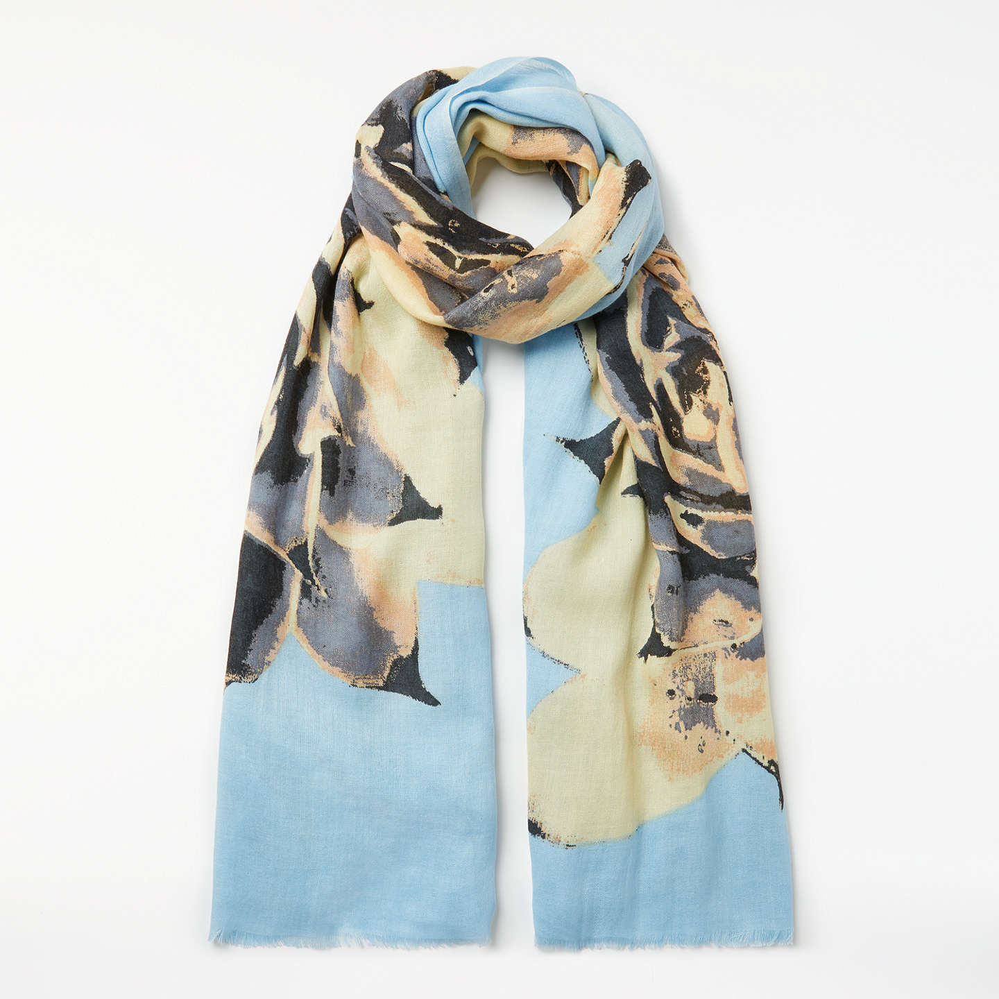 BuyUnmade Aus Blooming Flower Wool Mix Scarf, Sky Blue/Multi Online at johnlewis.com