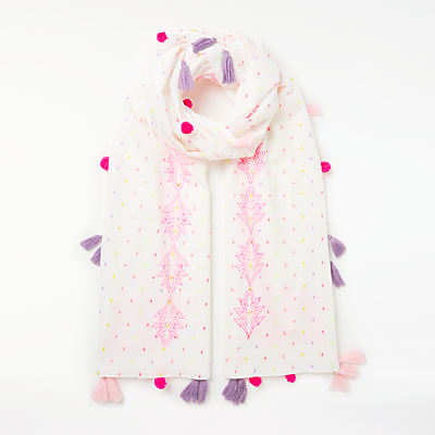 Unmade Lollies Cotton Tassel Scarf, Pink Mix