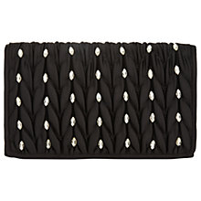 Buy Adrianna Papell Quilted Flapover Rhinestone Embellished Clutch Bag, Black/Silver Online at johnlewis.com