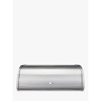 John Lewis & Partners Stainless Steel Roll Top Bread Bin, Silver