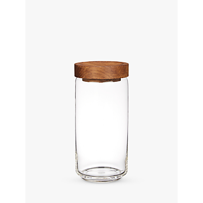 Croft Collection Glass Jar with Oak Wood Lid, Natural/Clear, Large